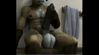 Big balls furry Ram jerking off in locker room shower
