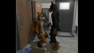 Furries fox and dog locker room cartoon sex