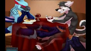 Gay Furry Dragon and Dog footjob under restaurant table