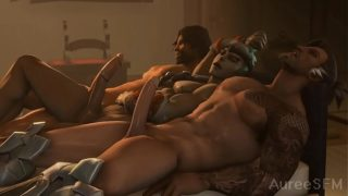 Gay Porn Cartoon Hanzo and McCree fuck Genji From Overwatch