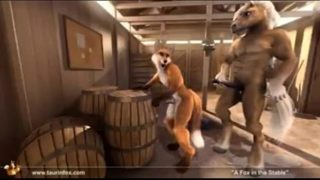 Furry Gay Yiff horse fucks fox in stable