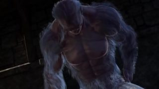 Two hairy beasts have gay monster sex in 3D