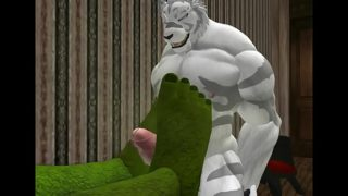 Gay Furry Porn a white tiger gets foot job from Orc