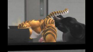 Raging bull rims tiger ass then fucks it rough