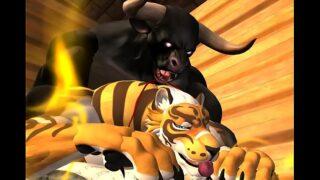 3D tiger rough fucks submissive tiger multiple cumshots