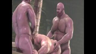 Big hairy sweaty gay bear threesome 3D SFM
