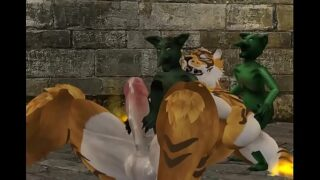 Group of green gay goblins use tiger cock and hole as pleasure toy