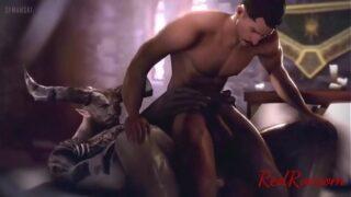 Dragon Age gay porn Dorian x Iron Bull gay anal and cum music video